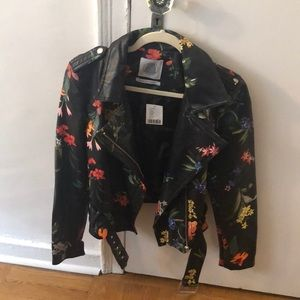 Vegan leather print moto jacket